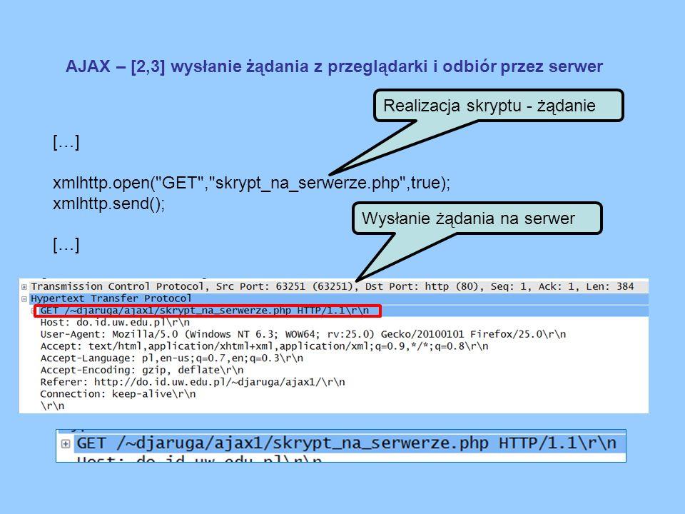 AJAX – [2,3] wysłanie żądania z przeglądarki i odbiór przez serwer